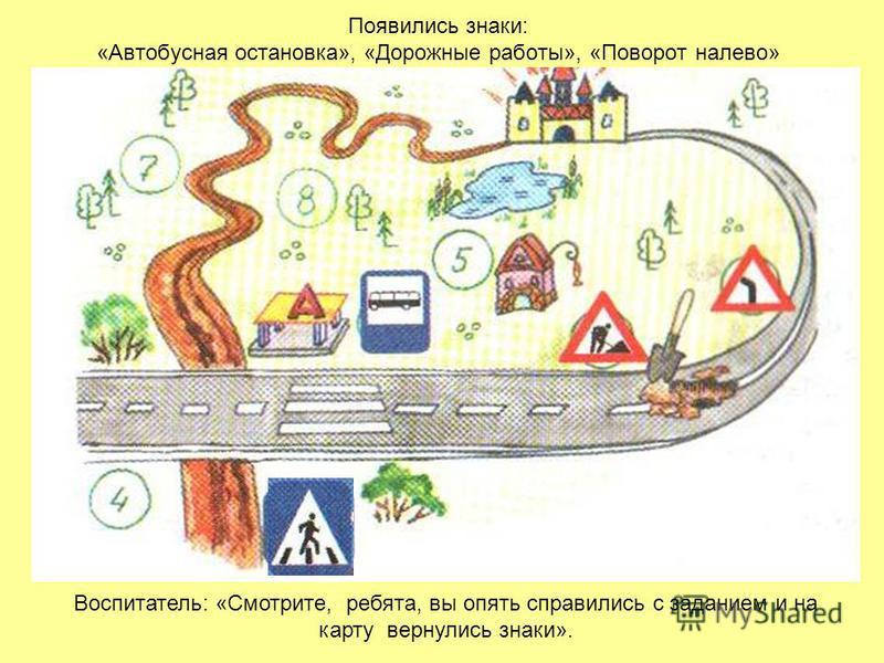Появились знаки: «Автобусная остановка», «Дорожные работы», «Поворот налево» Воспитатель: «Смотрите, ребята, вы опять справились с заданием и на карту вернулись знаки».