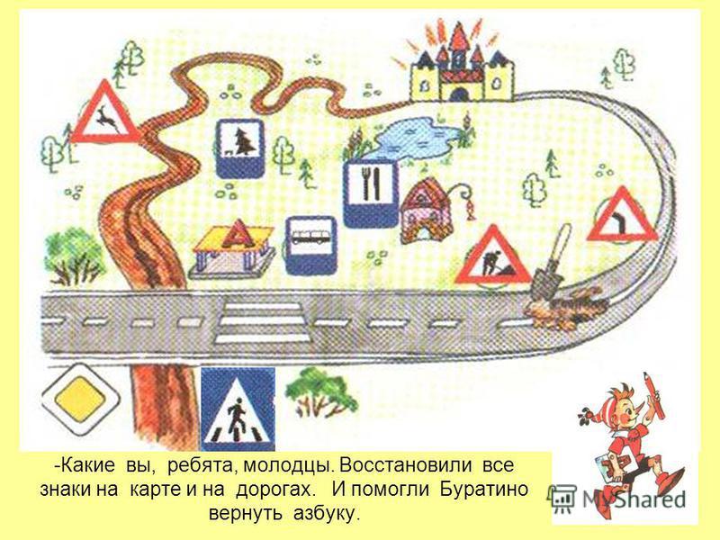 -Какие вы, ребята, молодцы. Восстановили все знаки на карте и на дорогах. И помогли Буратино вернуть азбуку.
