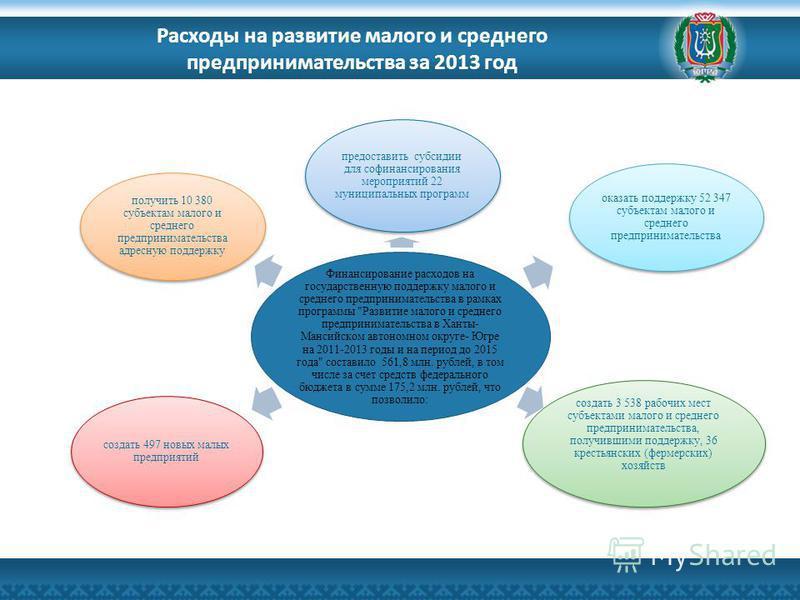 Расходы на развитие малого и среднего предпринимательства за 2013 год Финансирование расходов на государственную поддержку малого и среднего предпринимательства в рамках программы