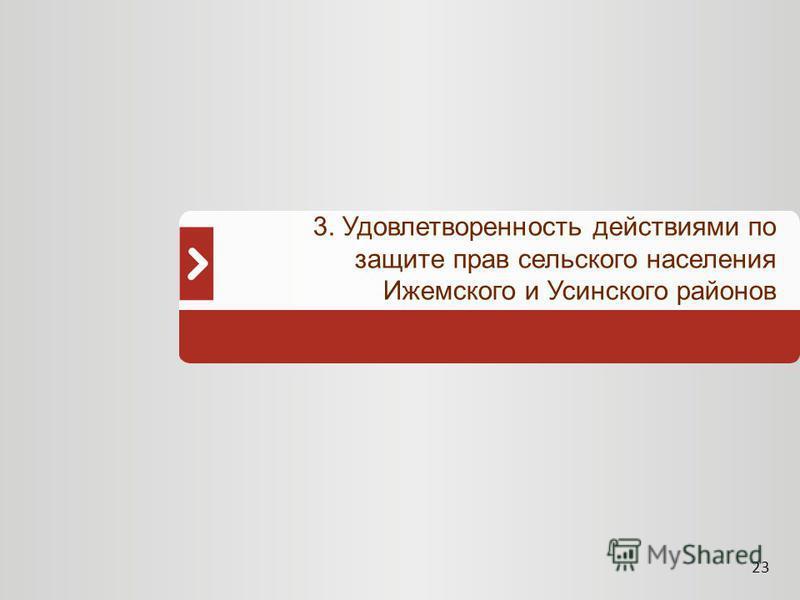 23 3. Удовлетворенность действиями по защите прав сельского населения Ижемского и Усинского районов