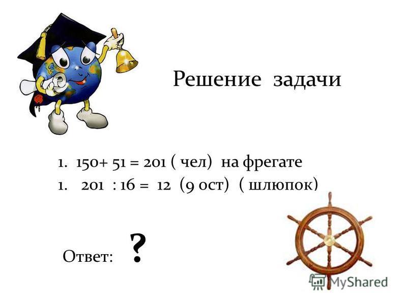 Решение задачи 1. 150+ 51 = 201 ( чел) на фрегате 1.201 : 16 = 12 (9 ост) ( шлюпок) Ответ: ?