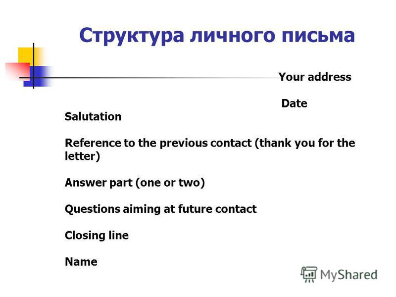 Структура личного письма Your address Date Salutation Reference to the previous contact (thank you for the letter) Answer part (one or two) Questions aiming at future contact Closing line Name