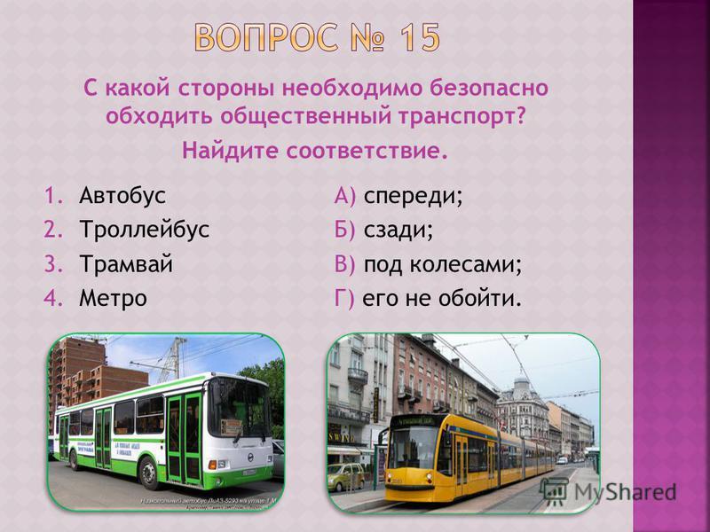 С какой стороны необходимо безопасно обходить общественный транспорт? Найдите соответствие. 1. Автобус 2. Троллейбус 3. Трамвай 4. Метро А) спереди; Б) сзади; В) под колесами; Г) его не обойти.