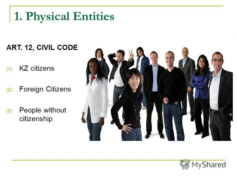 1. Physical Entities ART. 12, CIVIL CODE (1) KZ citizens (2) Foreign Citizens (3) People without citizenship