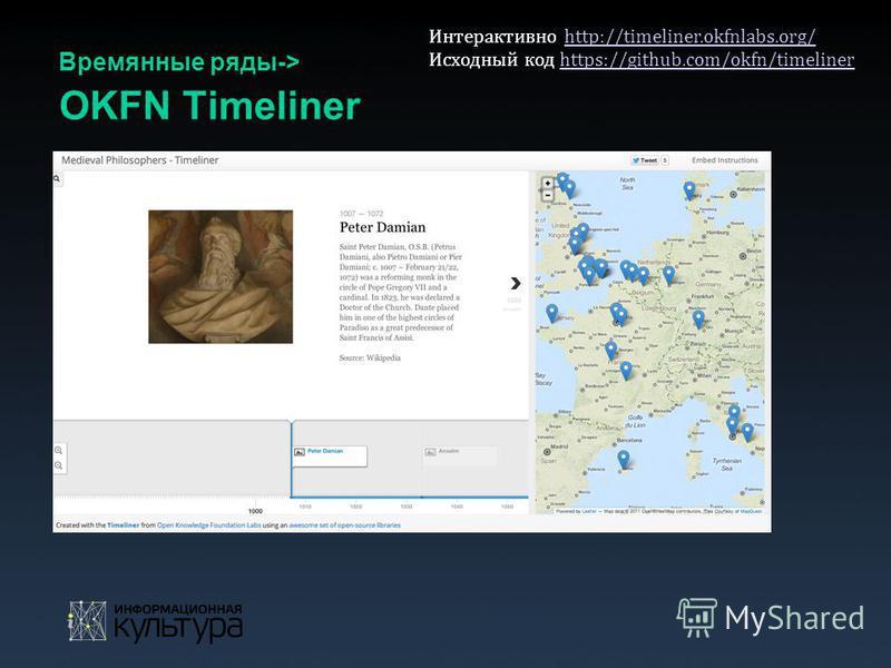 Времянные ряды-> OKFN Timeliner Интерактивно http://timeliner.okfnlabs.org/http://timeliner.okfnlabs.org/ Исходный код https://github.com/okfn/timelinerhttps://github.com/okfn/timeliner
