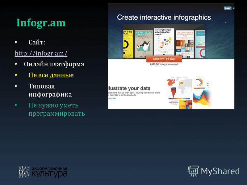 Infogr.am Сайт: http://infogr.am/ Онлайн платформа Не все данные Типовая инфографика Не нужно уметь программировать