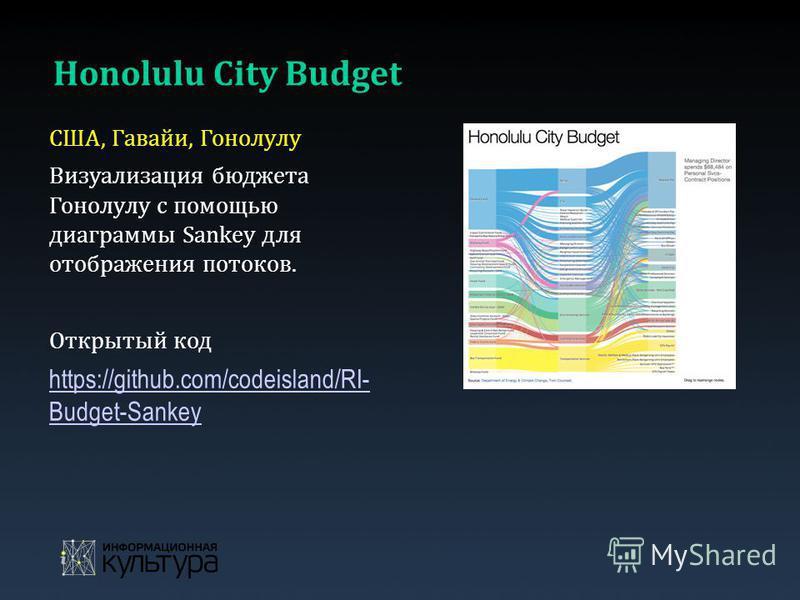 Honolulu City Budget США, Гавайи, Гонолулу Визуализация бюджета Гонолулу с помощью диаграммы Sankey для отображения потоков. Открытый код https://github.com/codeisland/RI- Budget-Sankey