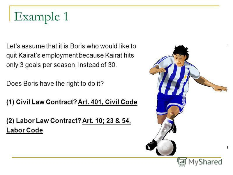 Example 1 Lets assume that it is Boris who would like to quit Kairats employment because Kairat hits only 3 goals per season, instead of 30. Does Boris have the right to do it? (1) Civil Law Contract? Art. 401, Civil Code (2) Labor Law Contract? Art.