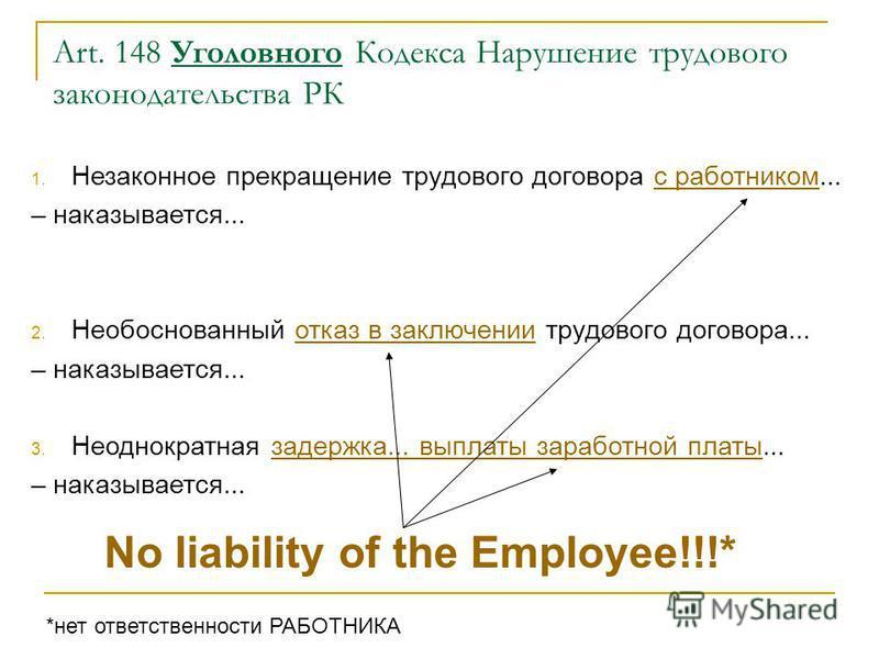 Art. 148 Уголовного Кодекса Нарушение трудового законодательства РК 1. Незаконное прекращение трудового договора с работником... – наказывается... 2. Необоснованный отказ в заключении трудового договора... – наказывается... 3. Неоднократная задержка.