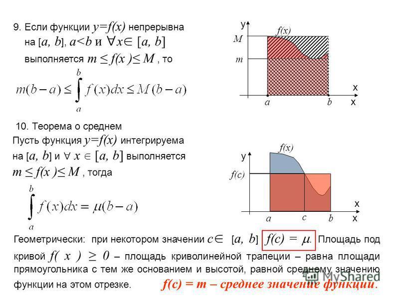 10. Теорема о среднем Пусть функция y=f(x) интегрируема на [ a, b ] и x [a, b] выполняется m f(x ) M, тогда 9. Если функции y=f(x) непрерывна на [ a, b ], a