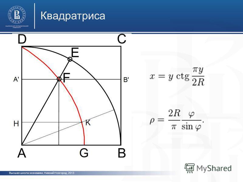 Высшая школа экономики, Нижний Новгород, 2013 Квадратриса