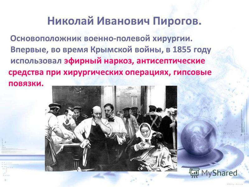 Николай Иванович Пирогов. Основоположник военно-полевой хирургии. Впервые, во время Крымской войны, в 1855 году использовал эфирный наркоз, антисептические средства при хирургических операциях, гипсовые повязки.