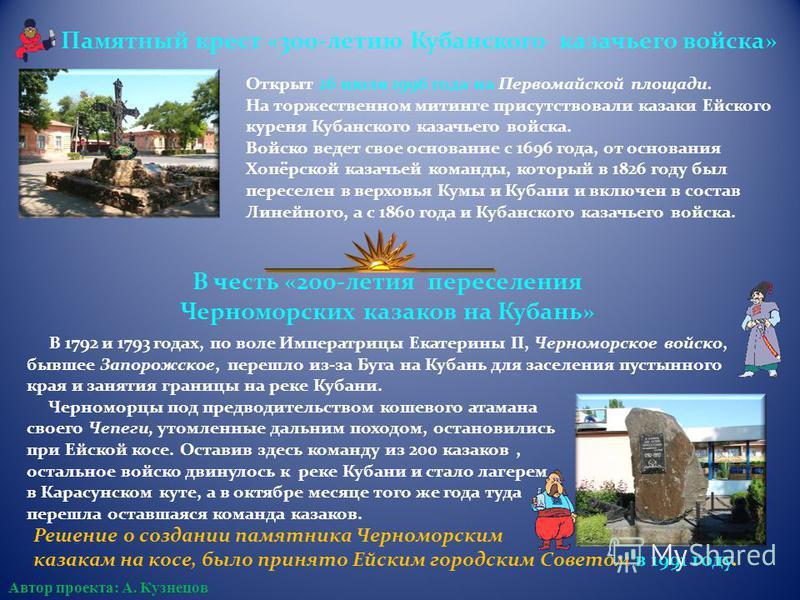 Памятный крест «300-летию Кубанского казачьего войска» Открыт 26 июля 1996 года на Первомайской площади. На торжественном митинге присутствовали казаки Ейского куреня Кубанского казачьего войска. Войско ведет свое основание с 1696 года, от основания