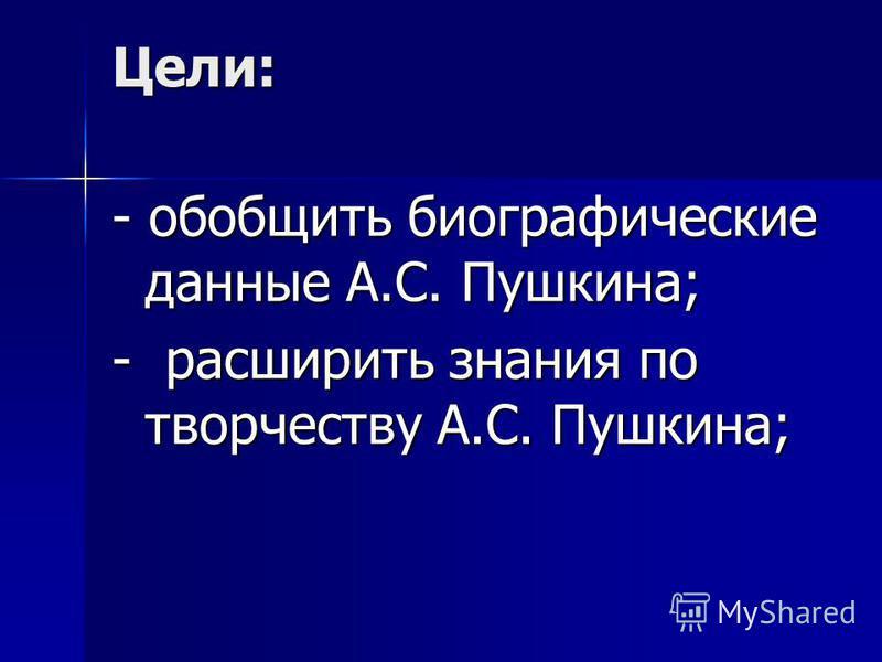 Цели: - обобщить биографические данные А.С. Пушкина; - расширить знания по творчеству А.С. Пушкина;