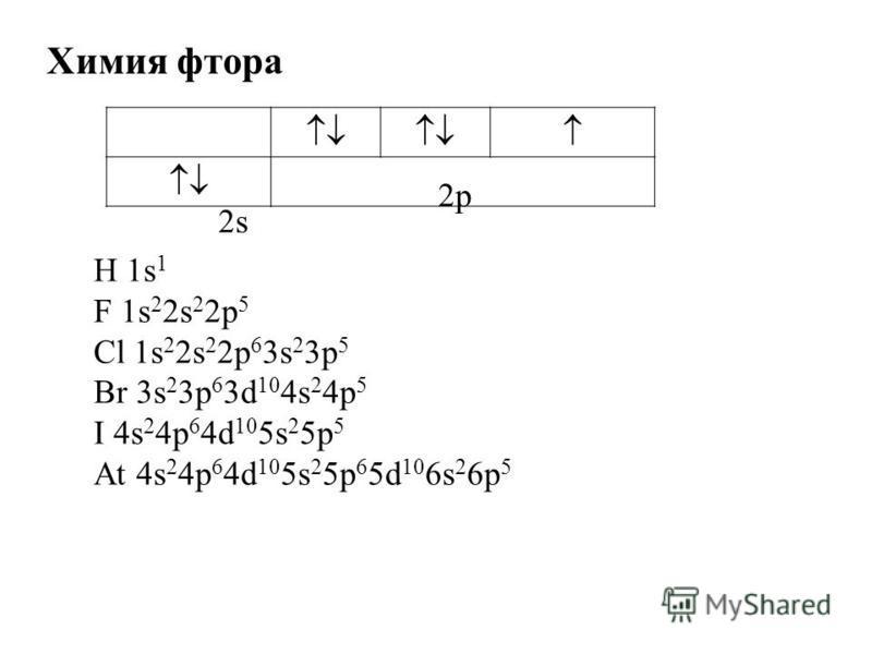 Химия фтора 2s2s 2 р H 1s 1 F 1s 2 2s 2 2p 5 Cl 1s 2 2s 2 2p 6 3s 2 3p 5 Br 3s 2 3p 6 3d 10 4s 2 4p 5 I 4s 2 4p 6 4d 10 5s 2 5p 5 At 4s 2 4p 6 4d 10 5s 2 5p 6 5d 10 6s 2 6p 5