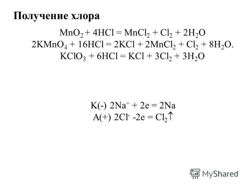 Получение хлора MnO 2 + 4HCl = MnCl 2 + Cl 2 + 2H 2 O 2KMnO 4 + 16HCl = 2KCl + 2MnCl 2 + Cl 2 + 8H 2 O. KClO 3 + 6HCl = KCl + 3Cl 2 + 3H 2 O K(-) 2Na + + 2e = 2Na A(+) 2Cl - -2e = Cl 2