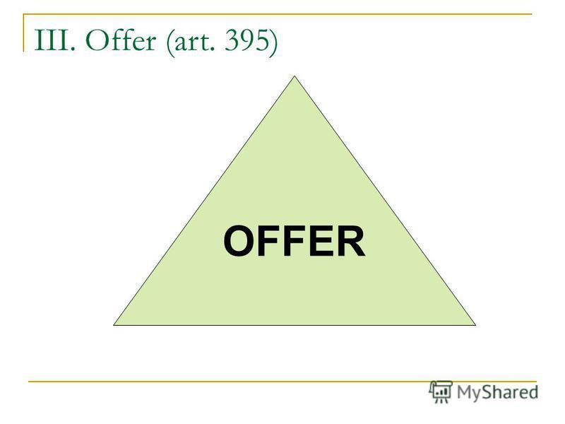 III. Offer (art. 395) OFFER