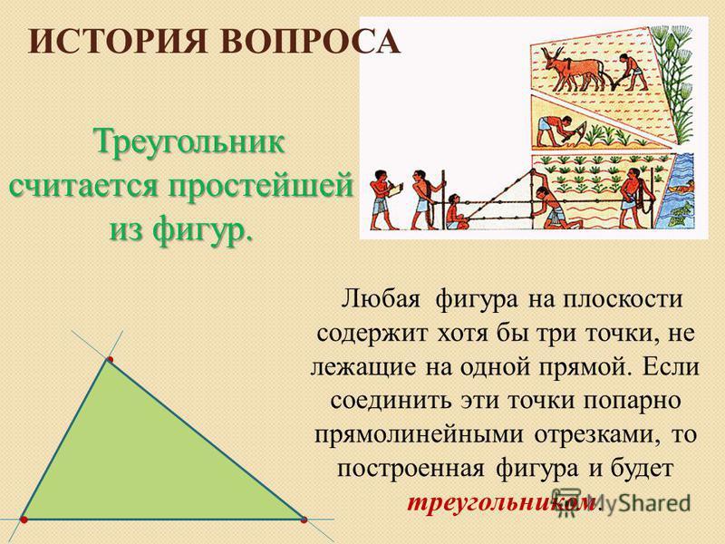 ИСТОРИЯ ВОПРОСА Любая фигура на плоскости содержит хотя бы три точки, не лежащие на одной прямой. Если соединить эти точки попарно прямолинейными отрезками, то построенная фигура и будет треугольником.... Треугольник считается простейшей из фигур.