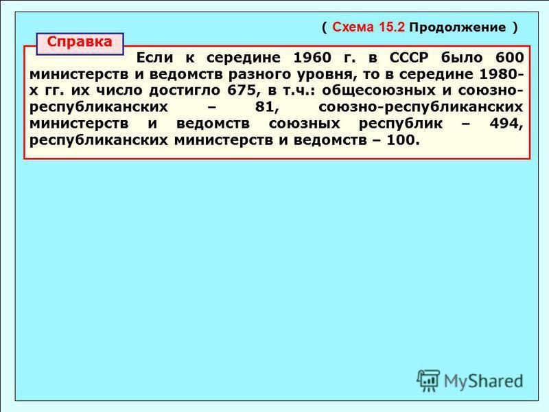 Если к середине 1960 г. в СССР было 600 министерств и ведомств разного уровня, то в середине 1980- х гг. их число достигло 675, в т.ч.: общесоюзных и союзно- республиканских – 81, союзно-республиканских министерств и ведомств союзных республик – 494,