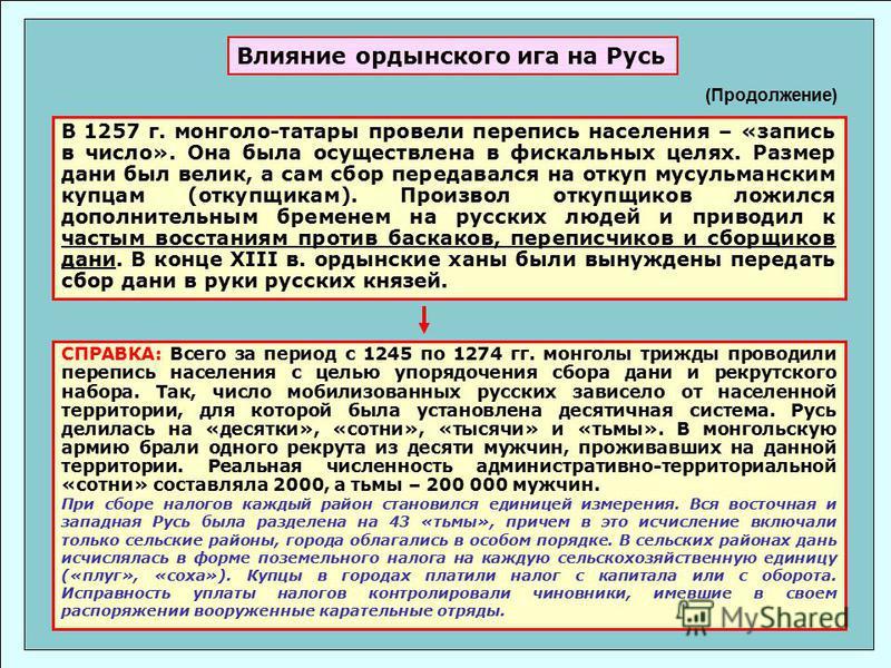 В 1257 г. монголо-татары провели перепись населения – «запись в число». Она была осуществлена в фискальных целях. Размер дани был велик, а сам сбор передавался на откуп мусульманским купцам (откупщикам). Произвол откупщиков ложился дополнительным бре