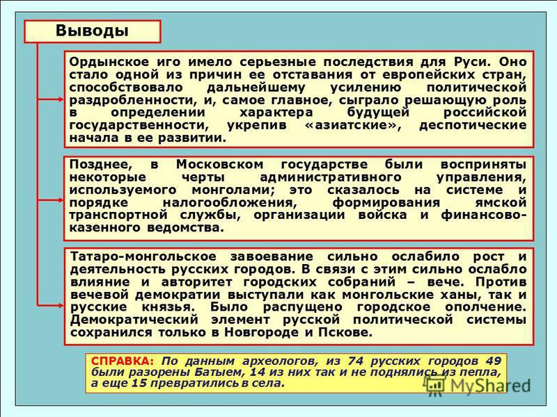 Выводы Позднее, в Московском государстве были восприняты некоторые черты административного управления, используемого монголами; это сказалось на системе и порядке налогообложения, формирования ямской транспортной службы, организации войска и финансов