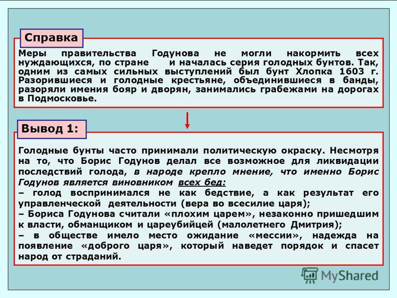 Голодные бунты часто принимали политическую окраску. Несмотря на то, что Борис Годунов делал все возможное для ликвидации последствий голода, в народе крепло мнение, что имено Борис Годунов является виновником всех бед: – голод воспринимался не как б