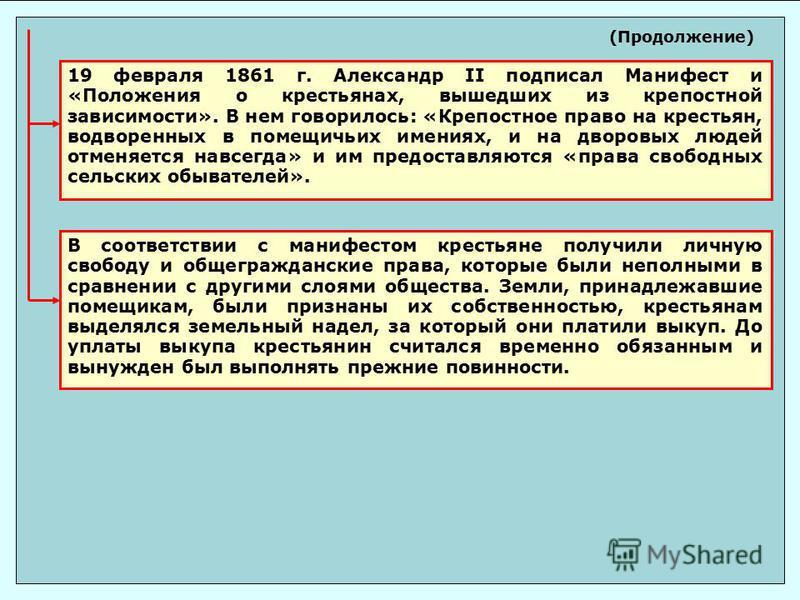 19 февраля 1861 г. Александр II подписал Манифест и «Положения о крестьянах, вышедших из крепостной зависимости». В нем говорилось: «Крепостное право на крестьян, водворенных в помещичьих имениях, и на дворовых людей отменяется навсегда» и им предост