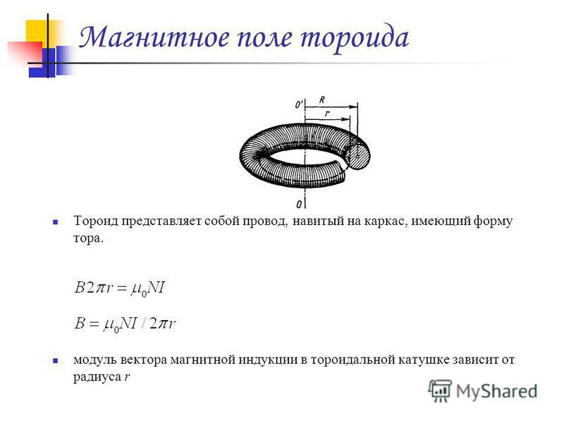 Магнитное поле тороида Тороид представляет собой провод, навитый на каркас, имеющий форму тора. модуль вектора магнитной индукции в тороидальной катушке зависит от радиуса r