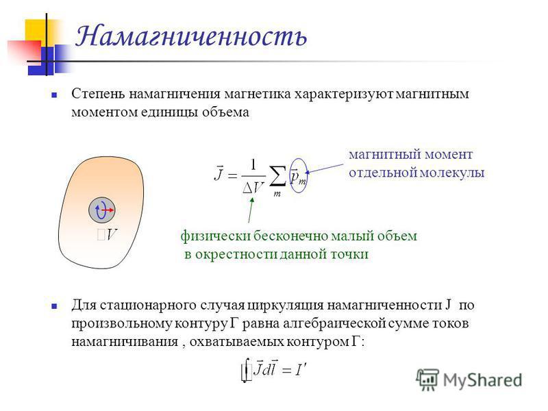 Намагниченность Степень намагничения магнетика характеризуют магнитным моментом единицы объема физически бесконечно малый объем в окрестности данной точки магнитный момент отдельной молекулы Для стационарного случая циркуляция намагниченности J по пр