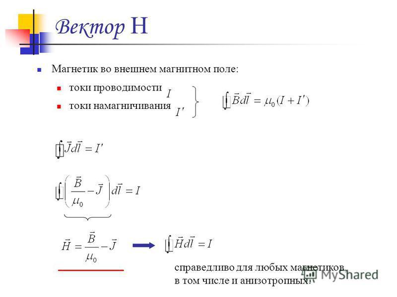 Вектор H Магнетик во внешнем магнитном поле: токи проводимости токи намагничивания справедливо для любых магнетиков, в том числе и анизотропных.