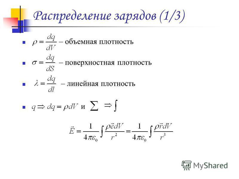 Распределение зарядов (1/3) – объемная плотность – поверхностная плотность – линейная плотность и