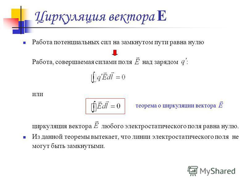 Циркуляция вектора Е Работа потенциальных сил на замкнутом пути равна нулю Работа, совершаемая силами поля над зарядом : или циркуляция вектора любого электростатического поля равна нулю. Из данной теоремы вытекает, что линии электростатического поля