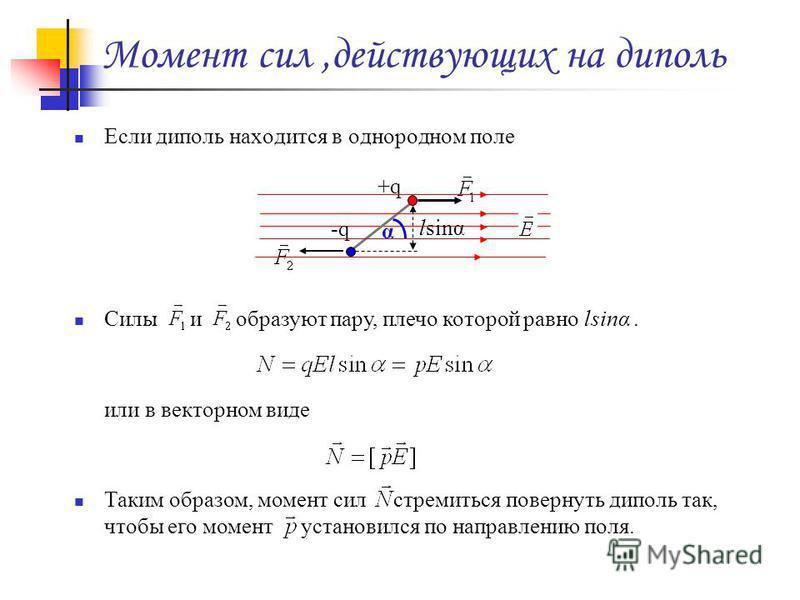 Момент сил,действующих на диполь Если диполь находится в однородном поле Силы и образуют пару, плечо которой равно lsinα. или в векторном виде Таким образом, момент сил стремиться повернуть диполь так, чтобы его момент установился по направлению поля