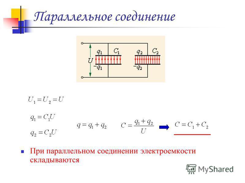Параллельное соединение При параллельном соединении электроемкости складываются