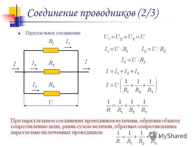 Соединение проводников (2/3) Параллельное соединение При параллельном соединении проводников величина, обратная общему сопротивлению цепи, равна сумме величин, обратных сопротивлениям параллельно включенных проводников