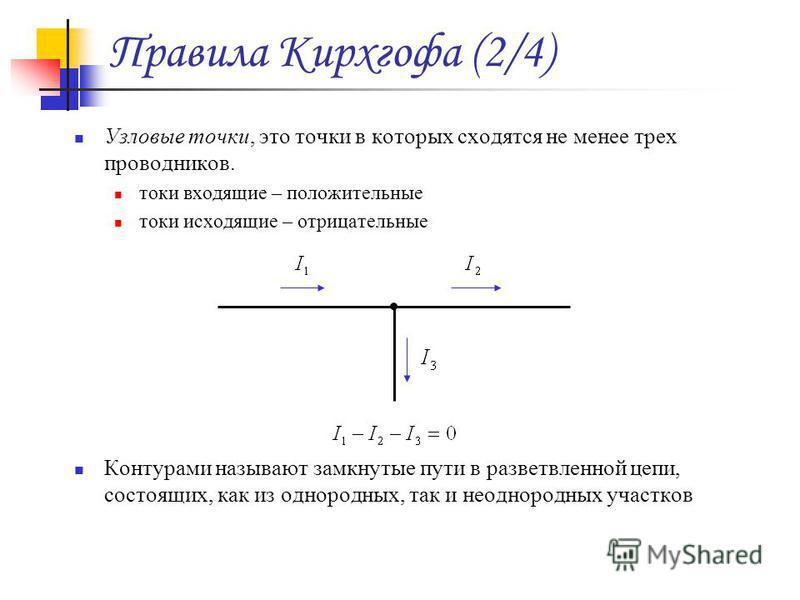 Правила Кирхгофа (2/4) Узловые точки, это точки в которых сходятся не менее трех проводников. токи входящие – положительные токи исходящие – отрицательные Контурами называют замкнутые пути в разветвленной цепи, состоящих, как из однородных, так и нео