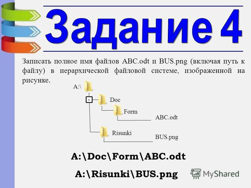 - A:\ Doc Form ABC.odt Risunki BUS.png Записать полное имя файлов ABC.odt и BUS.png (включая путь к файлу) в иерархической файловой системе, изображенной на рисунке. А:\Doc\Form\ABC.odt А:\Risunki\BUS.png