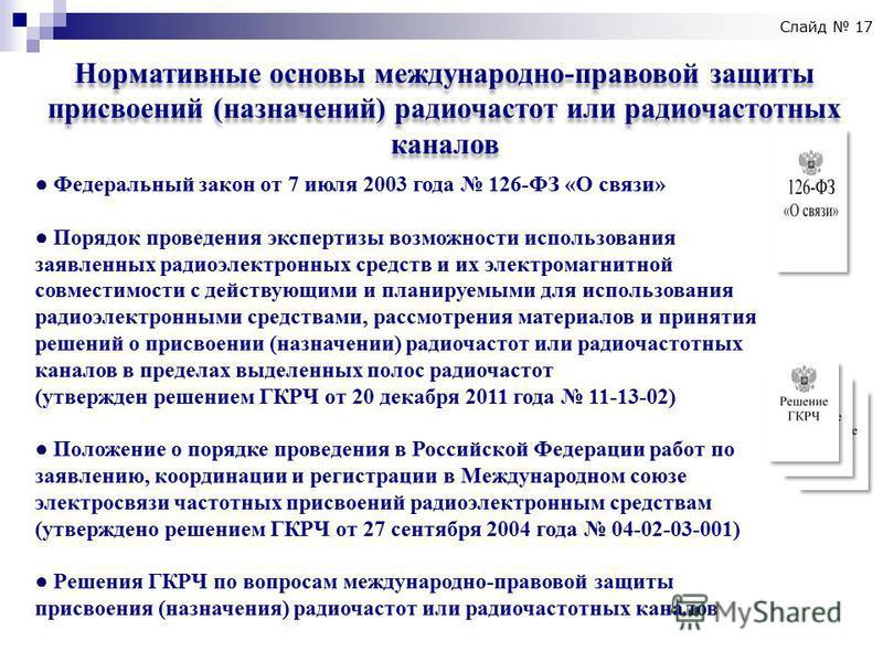 Нормативные основы международно-правовой защиты присвоений (назначений) радиочастот или радиочастотных каналов Федеральный закон от 7 июля 2003 года 126-ФЗ «О связи» Порядок проведения экспертизы возможности использования заявленных радиоэлектронных