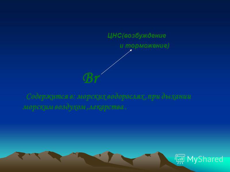 ЦНС(возбуждение и торможение) Br Содержится в: морских водорослях,при дыхании морским воздухом,лекарства.
