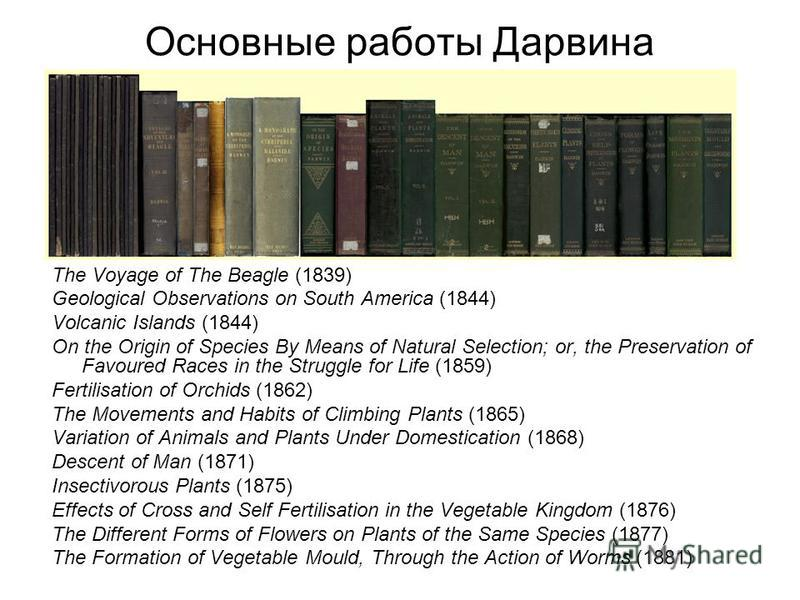 Основные работы Дарвина The Voyage of The Beagle (1839) Geological Observations on South America (1844) Volcanic Islands (1844) On the Origin of Species By Means of Natural Selection; or, the Preservation of Favoured Races in the Struggle for Life (1