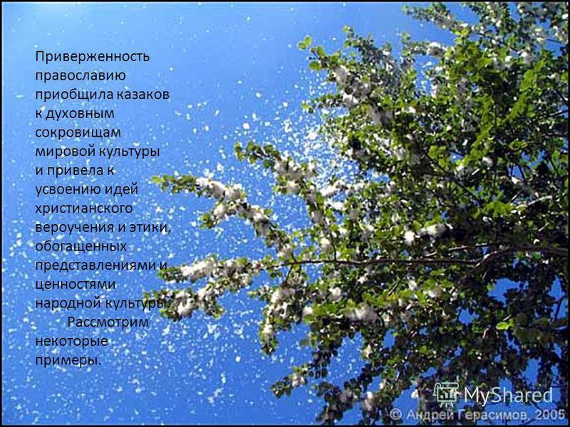 Приверженность православию приобщила казаков к духовным сокровищам мировой культуры и привела к усвоению идей христианского вероучения и этики, обогащенных представлениями и ценностями народной культуры. Рассмотрим некоторые примеры.