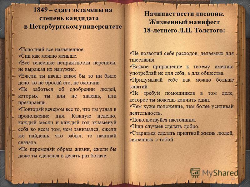 11 1849 – сдает экзамены на степень кандидата в Петербургском университете Исполняй все назначенное. Спи как можно меньше. Все телесные неприятности переноси, не выражая их наружно. Ежели ты начал какое бы то ни было дело, то не бросай его, не окончи