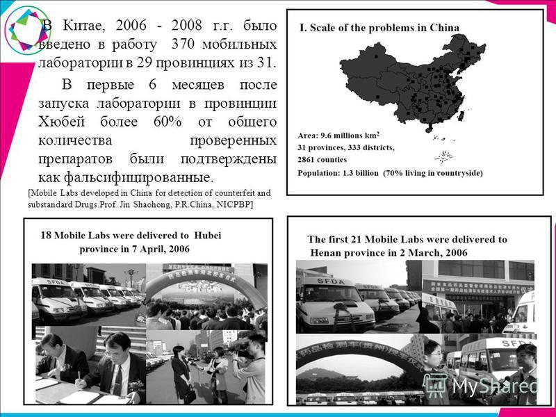 В Китае, 2006 - 2008 г.г. было введено в работу 370 мобильных лаборатории в 29 провинциях из 31. В первые 6 месяцев после запуска лаборатории в провинции Хюбей более 60% от общего количества проверенных препаратов были подтверждены как фальсифицирова