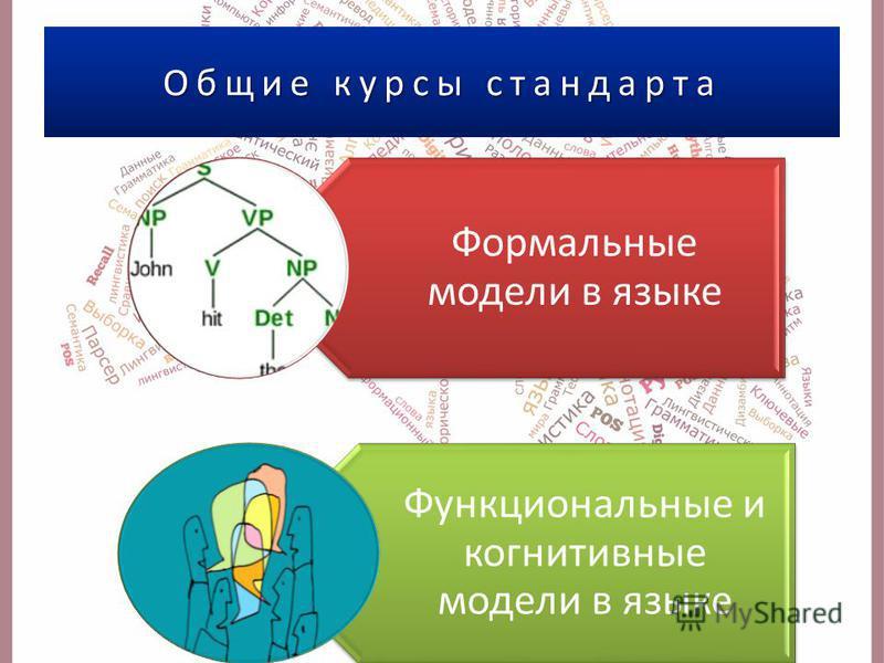 Общие курсы стандарта Формальные модели в языке Функциональные и когнитивные модели в языке