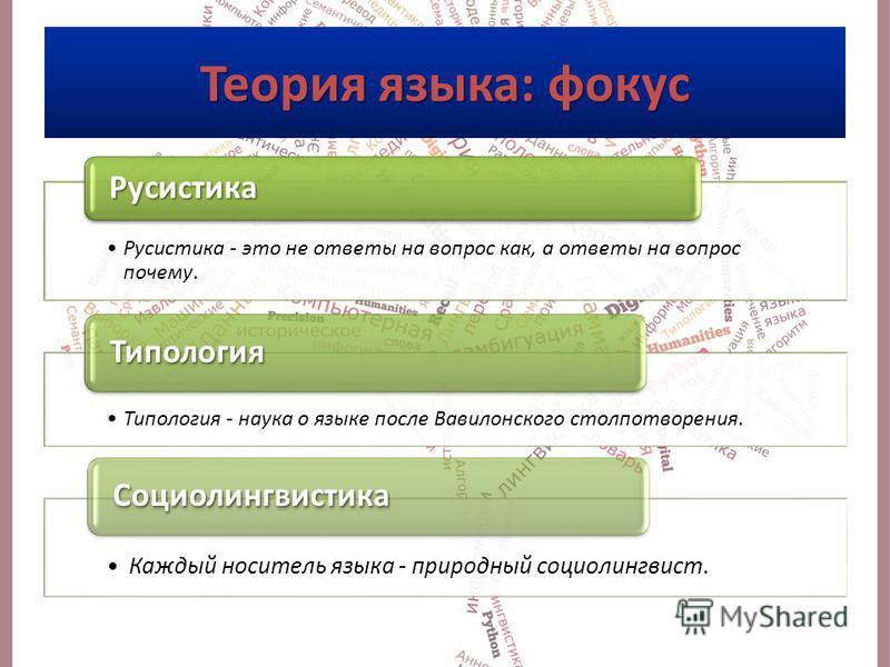 Русистика - это не ответы на вопрос как, а ответы на вопрос почему. Русистика Типология - наука о языке после Вавилонского столпотворения. Типология Каждый носитель языка - природный социолингвист. Социолингвистика Теория языка: фокус
