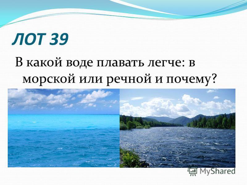 ЛОТ 39 В какой воде плавать легче: в морской или речной и почему?