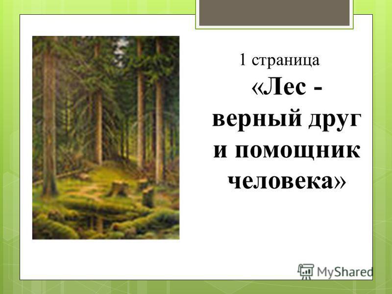 1 страница «Лес - верный друг и помощник человека»