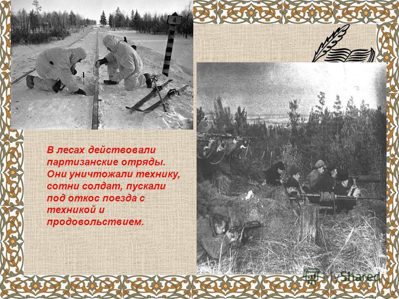 В лесах действовали партизанские отряды. Они уничтожали технику, сотни солдат, пускали под откос поезда с техникой и продовольствием.