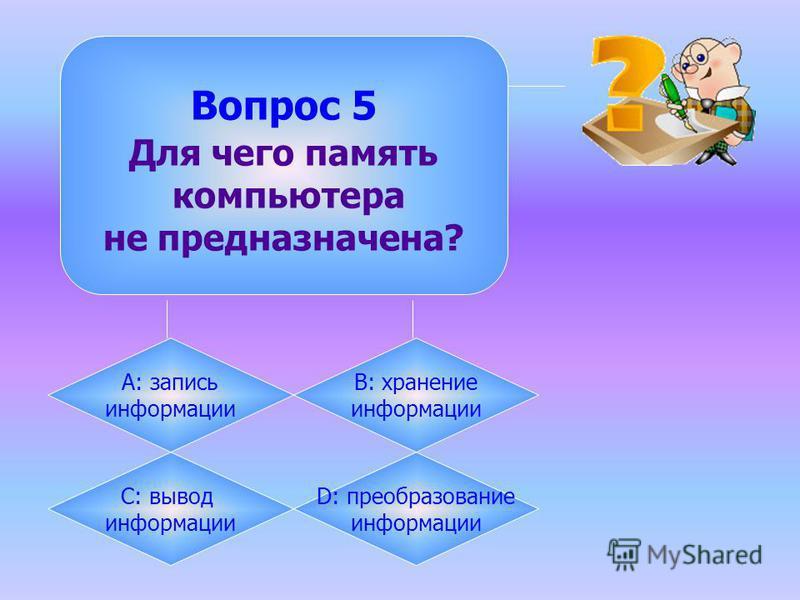 Вопрос 5 Для чего память компьютера не предназначена? А: запись информации B: хранение информации C: вывод информации D: преобразование информации