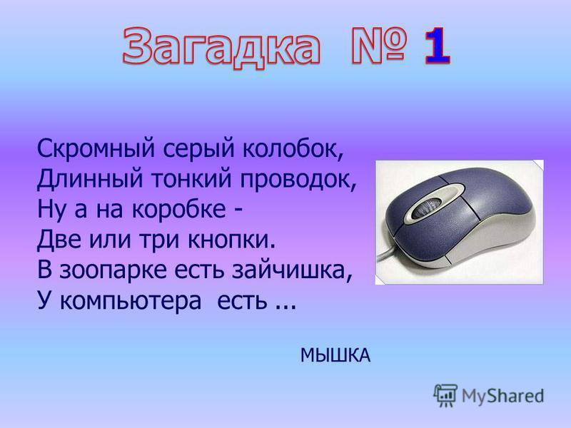 Скромный серый колобок, Длинный тонкий проводок, Ну а на коробке - Две или три кнопки. В зоопарке есть зайчишка, У компьютера есть... МЫШКА